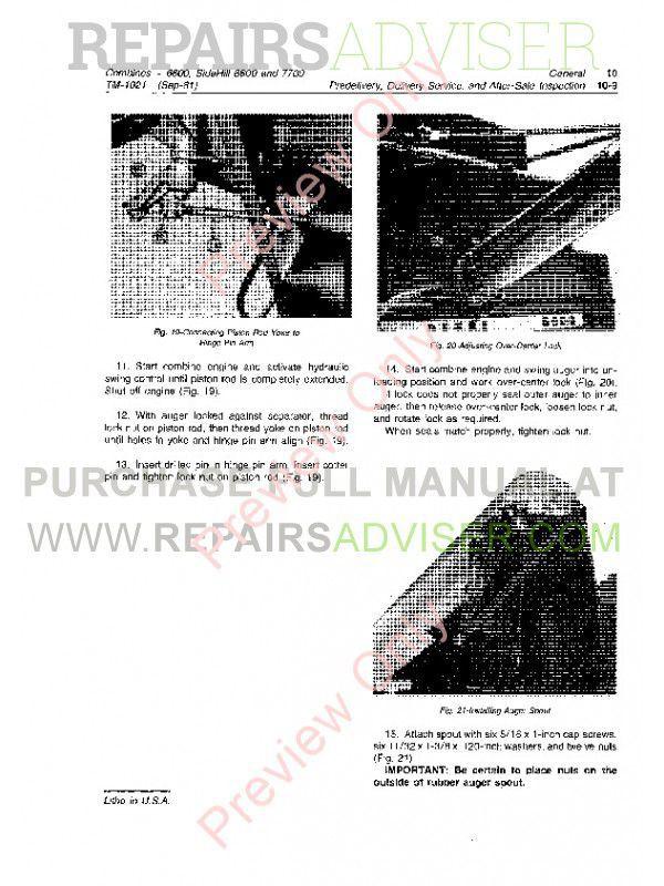 John Deere Side Hill 6600 & 7700 Combines Technical Manual
