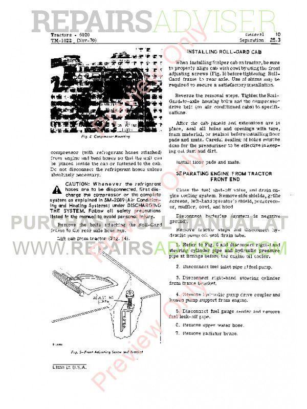 John Deere 5020 Tractor Technical Manual TM-1022 PDF Download