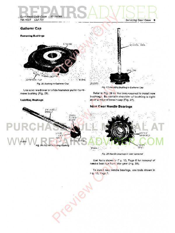 John Deere 40 Series Corn Head Gear Case Technical Manual