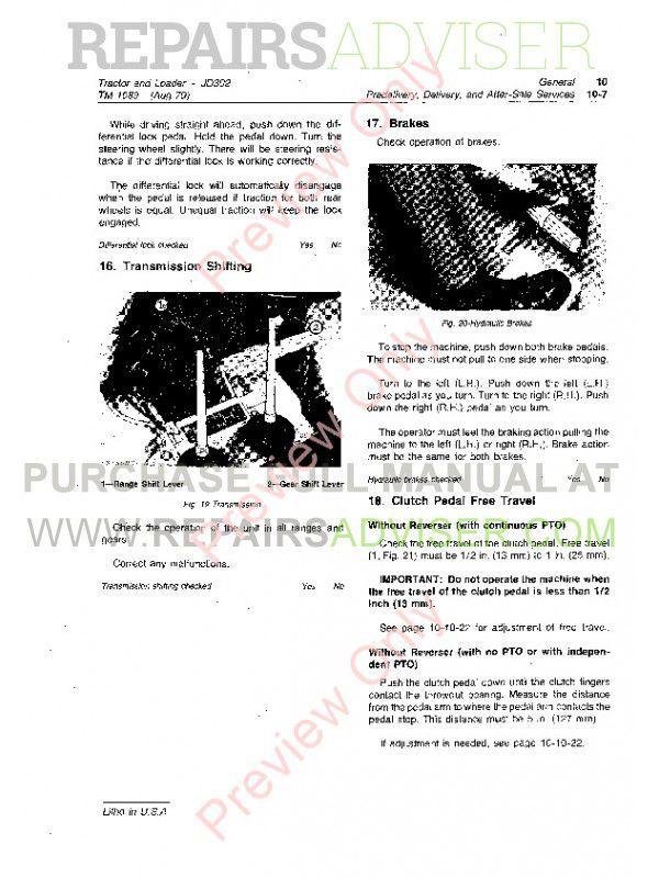 John Deere JD302 Tractor and Loader Technical Manual TM