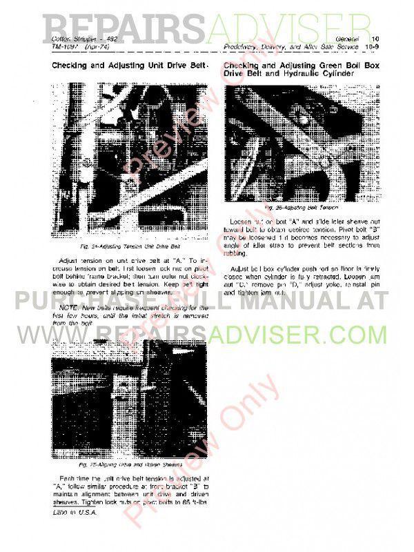 John Deere 482 Cotton Stripper Technical Manual TM-1097