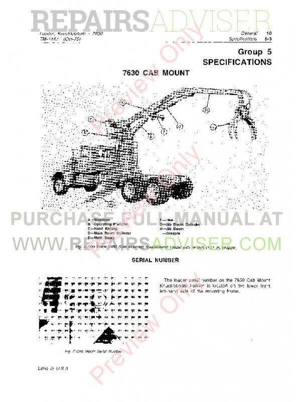 John Deere 7630 Knuckleboom Loader Technical Manual TM