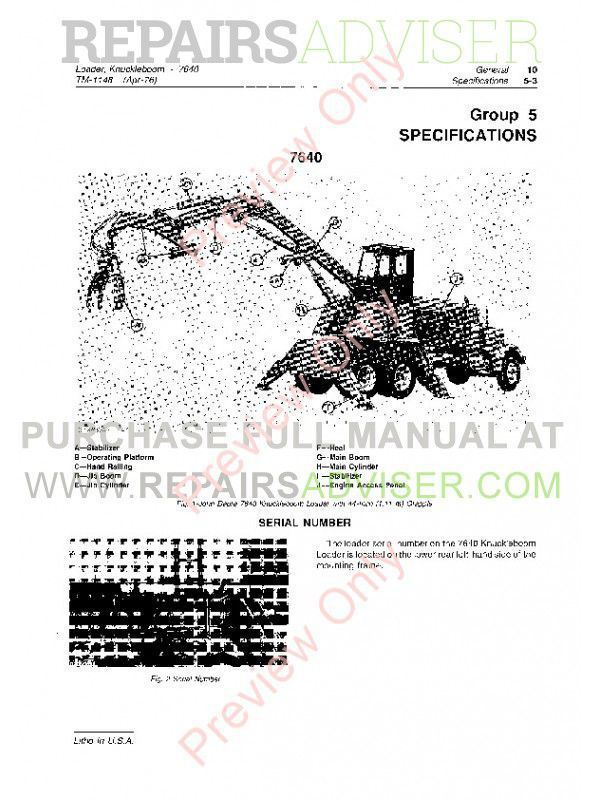 John Deere 7640 Knuckleboom Loader Technical Manual TM