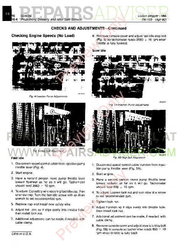 John Deere 484 Stripper Technical Manual TM-1153 PDF Download