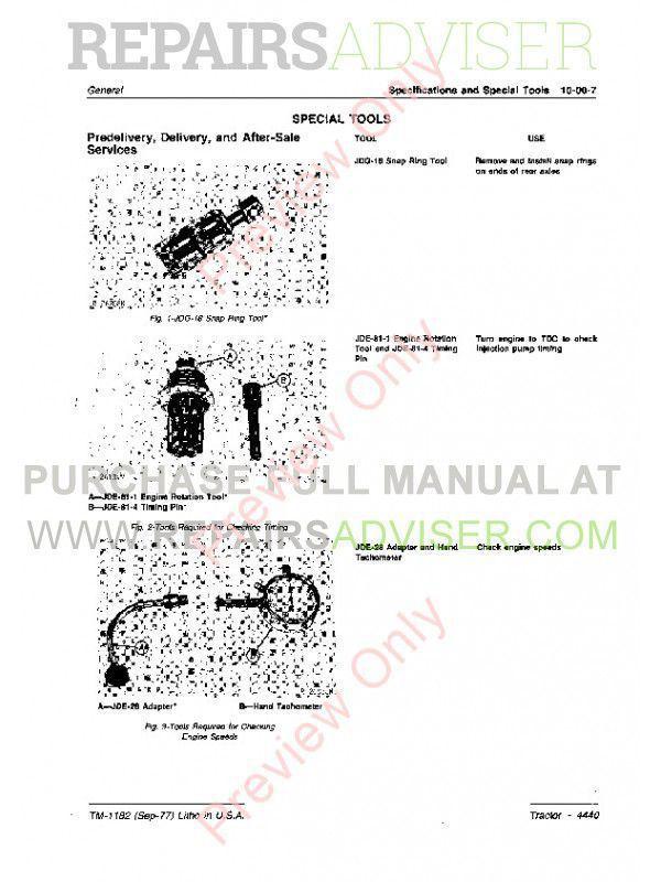 John Deere 4440 Tractor Technical Manual TM-1182 PDF Download