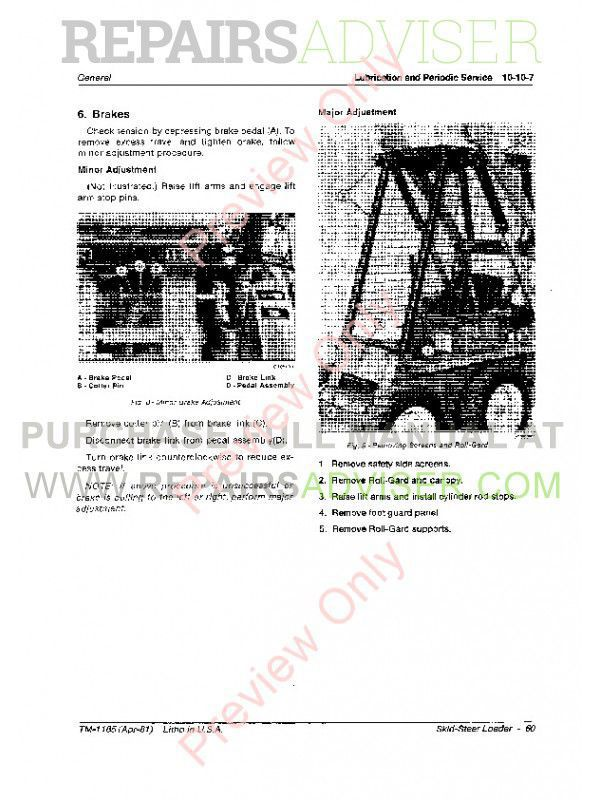 John Deere 60 Skid Steer Loader Technical Manual TM-1185