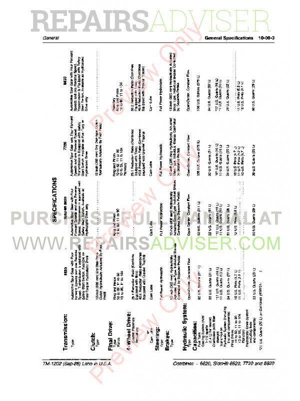 Download John Deere 6620 7720 8820 Combines TM1202 PDF