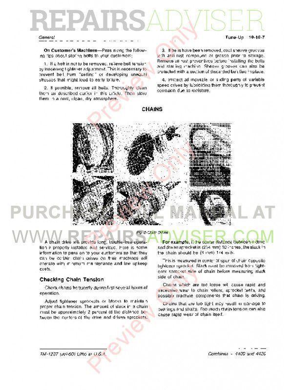 John Deere 4400 & 4420 Combines TM-1237 PDF Download