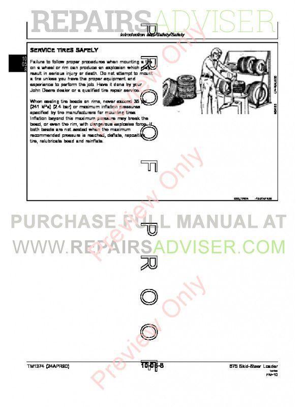 John Deere 675 & 675B Skid Steer Loaders Technical Manual