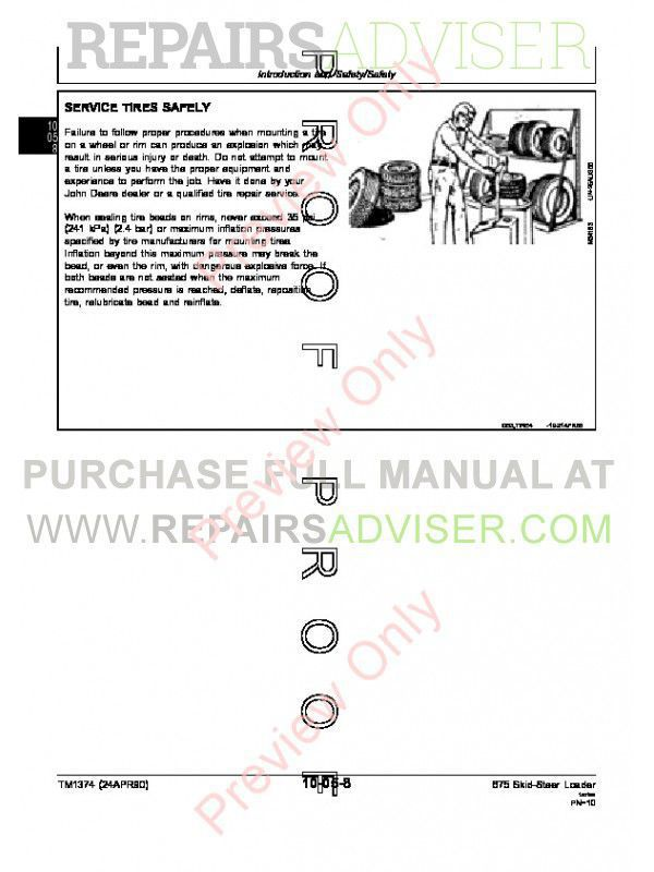 John Deere 675 & 675B Skid Steer Loaders Technical Manual