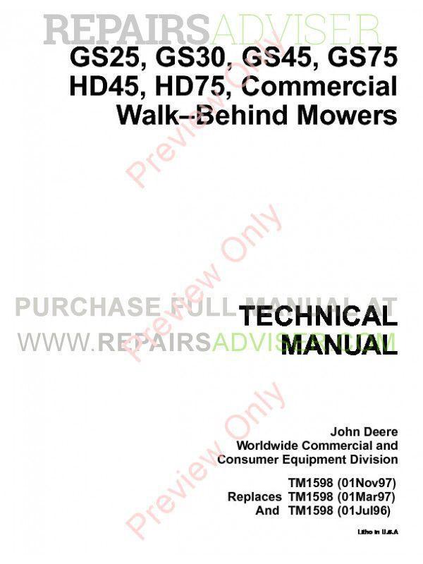 John Deere GS25-GS75, HD45/75 Mowers Technical Manual PDF
