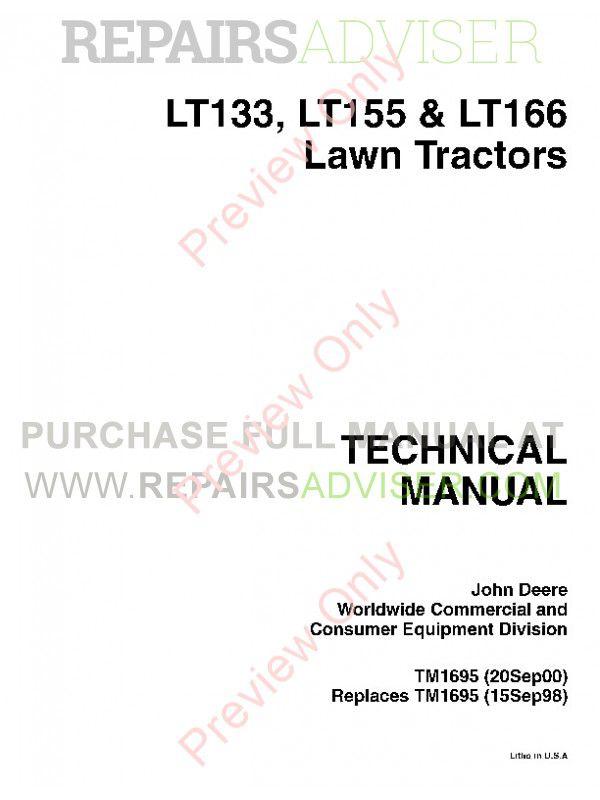 John Deere Lt155 Wiring Harness Download John Deere Lt133 Lt155 Lt166 Tractor Pdf Manual