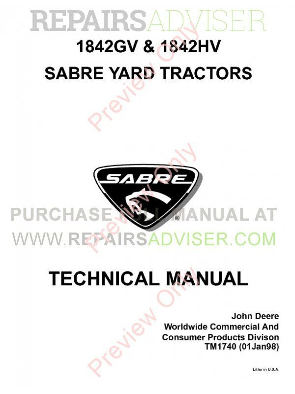 John Deere 1842GV/HV Sabre Yard Tractors Technical Manual PDF