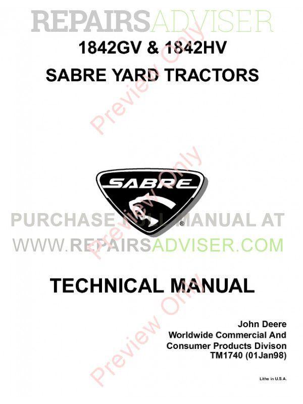 John Deere 1842GV/HV Sabre Yard Tractors Technical Manual PDF