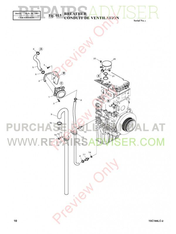 Terex TXC 180LC-2 Heavy Hydraulic Excavator Parts Manual
