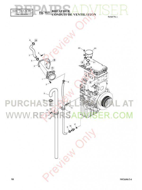 Terex TXC 225LC-2 Heavy Hydraulic Excavator Parts Manual