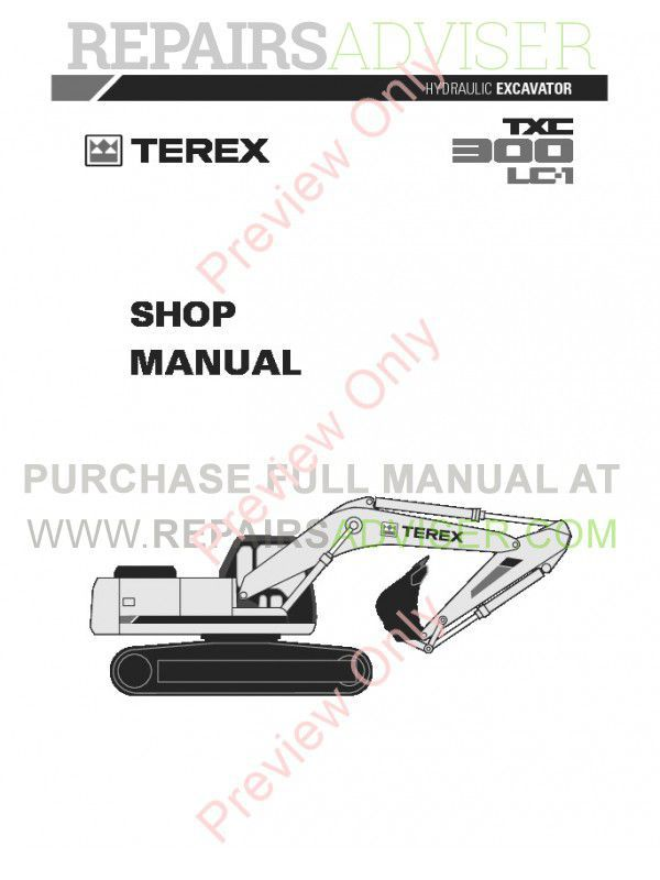 Terex TXC 300LC-1 Hydraulic Excavator Shop Manual PDF Download