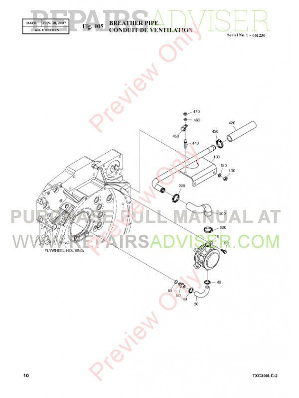 Terex TXC 300LC-2 Heavy Hydraulic Excavator Parts Manual
