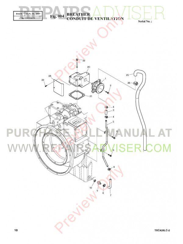 Terex TXC 420LC-2 Heavy Hydraulic Excavator Parts Manual