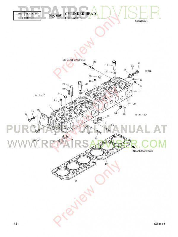 Terex TXC 500-1 Hydraulic Excavator Parts Manual PDF Download