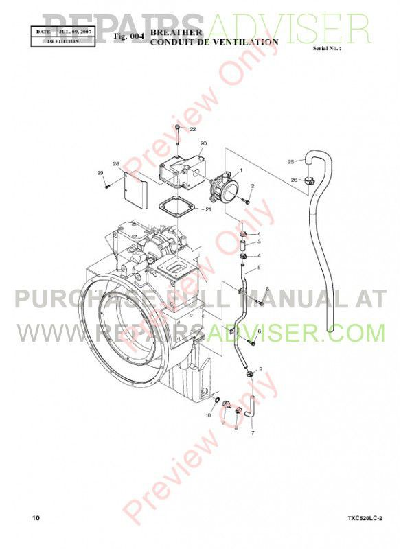 Terex TXC 520LC-2 Heavy Hydraulic Excavator Parts Manual