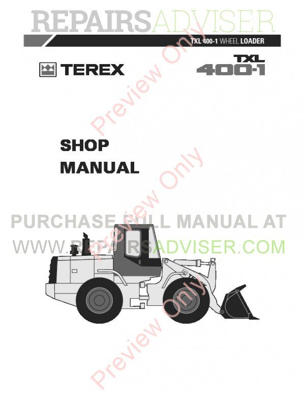 Terex TXL 400-1 Wheel Loader Shop Manual PDF Download