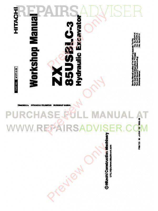 Hitachi ZX85USBLC-3 Hydraulic Excavator Workshop Manual
