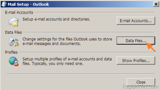 How to find Outlook data files location.