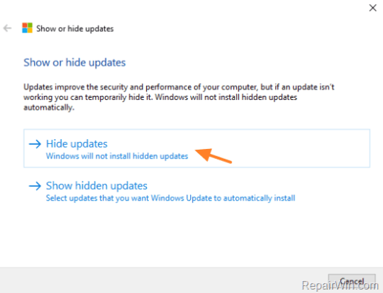 prevent a particular update on windows 10