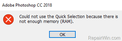 Could not Save As because there is not enough Memory