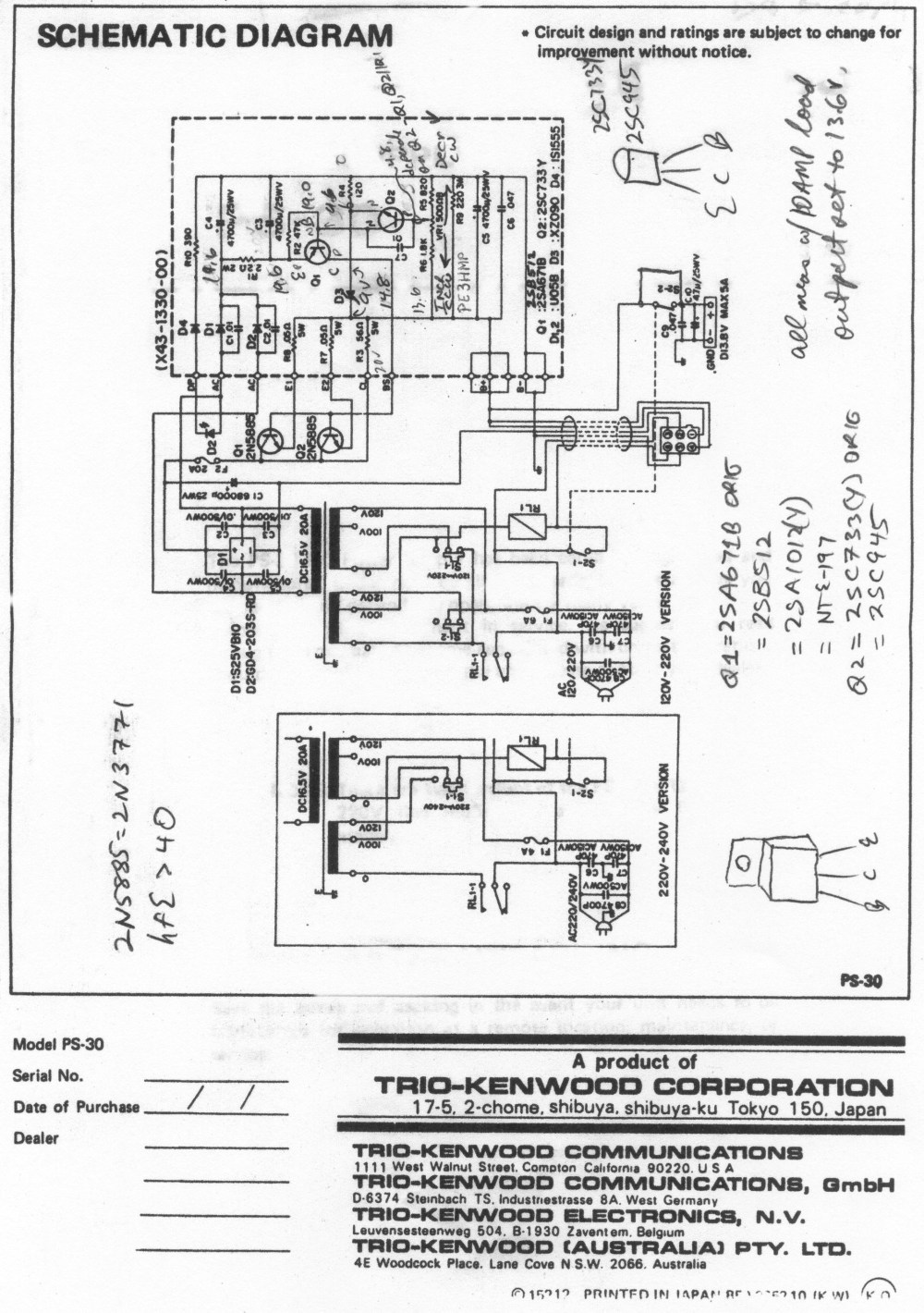 medium resolution of ps 30 schematic with repair notes