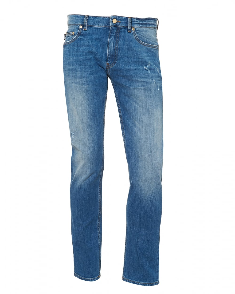 Love Moschino Mens Slim Fit Distressed Jeans Light Blue Jeans