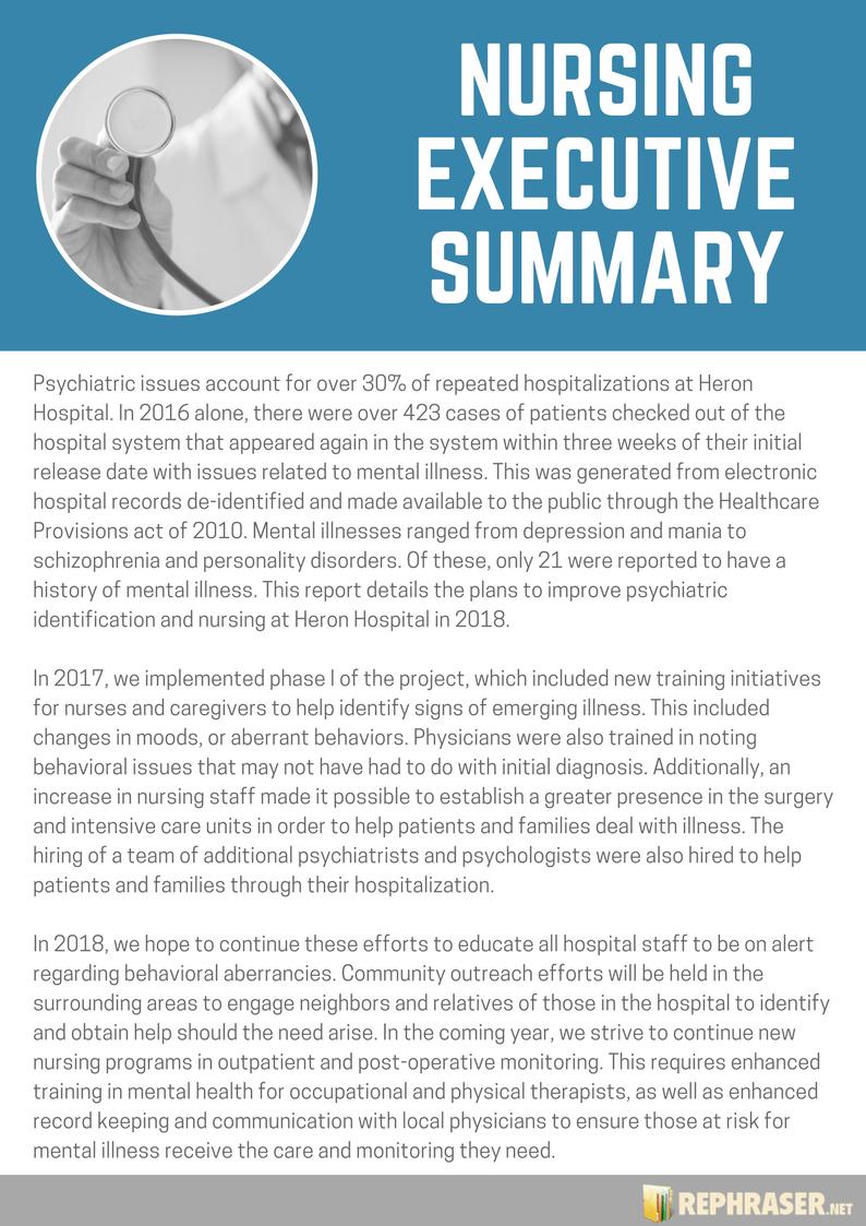 Write an Effective Nursing Executive Summary