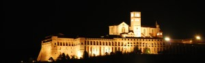 Assisi by night in Umbria