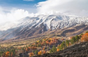 View of Etna Volcano with Snow