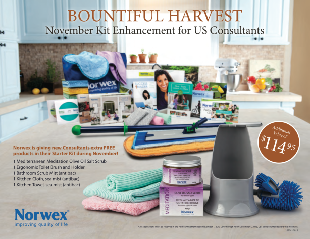 Become a Norwex Consultant in November to benefit from this extra $114 Free Kit Addition!!
