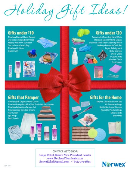 Find a gift that's perfect for everyone on your list! There are some perfect stocking stuffers, too! One of my FAVORITE stocking stuffers are the AMAZING #NorwexToothbrushes!!! They will LOVE you for sharing this phenomenal product with them. The Spa Wrap and Turban have also been super popular! www.SonyaEckel.norwex.biz