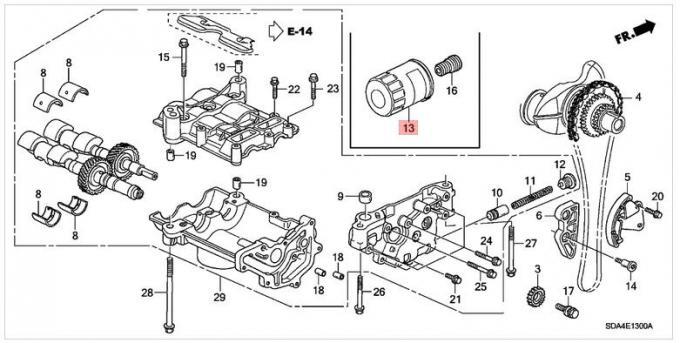 15400-RTA-003 Auto Parts Honda Auto Oil Filters Cartridge