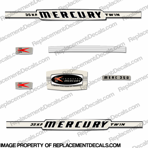 Mercury 1964 35HP Outboard Engine Decals