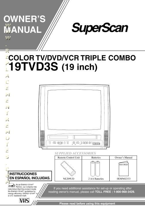 Buy/Download Superscan 19TVD3S 6719DD 6719DDS Operating Manual