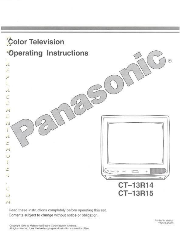 Buy Panasonic CT13R14OM CT13R14 CT13R15 Operating Manual