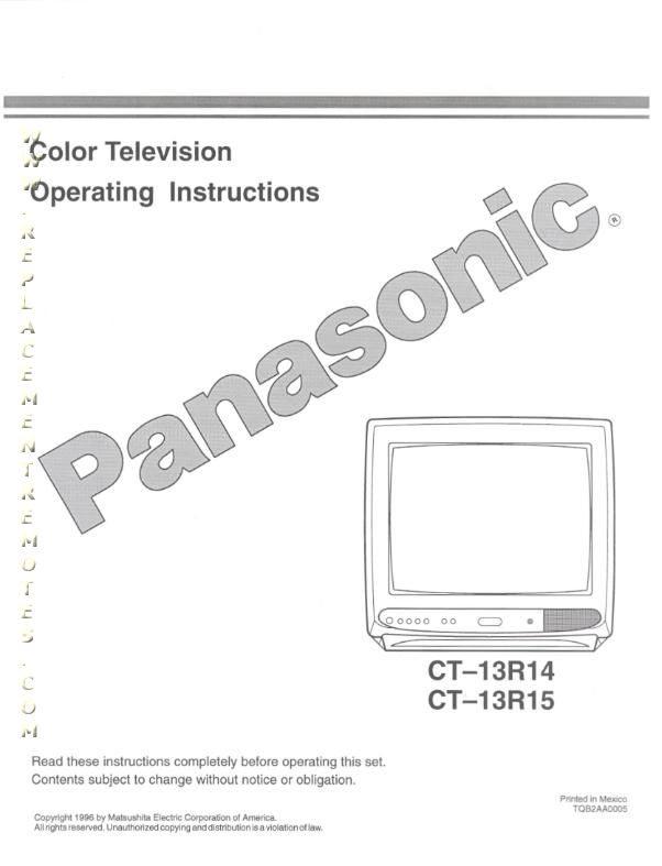 Buy Panasonic CT13R14OM CT13R14 CT13R15 Operating Manual