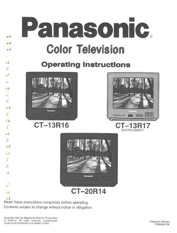 Buy Panasonic CT13R16VOM CT13R16V CT13R17V CT20R14V