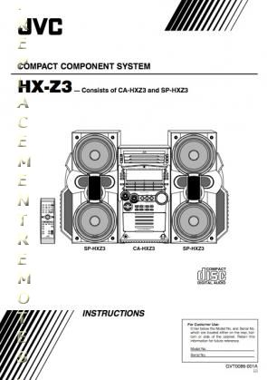 Buy JVC HXZ3OM CAHXZ3 HXZ3 SPHXZ3 Operating Manual