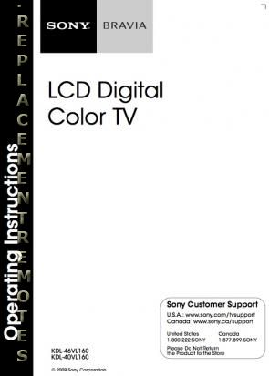 Buy SONY KDL46VL160OM KDL40VL160 KDL46VL160 Operating Manual