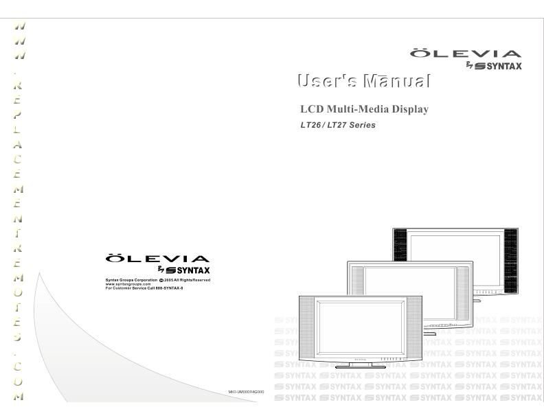 Buy Olevia LT27HVXOM LT26HVE LT26HVX LT27HVS Operating Manual