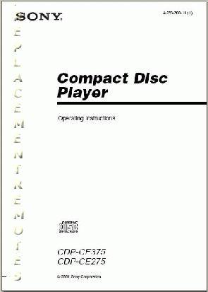Buy SONY CDPCE275OM CDPCE275 CDPCE375 Operating Manual