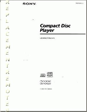 Buy SONY CDPCX220OM CDPCX220 CDPCX240 Operating Manual