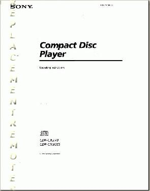 Buy SONY CDPCX270OM CDPCX270 CDPCX90ES Operating Manual