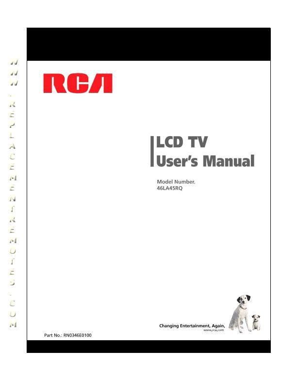 Buy RCA 46LA45RQOM 46LA45RQ Operating Manual